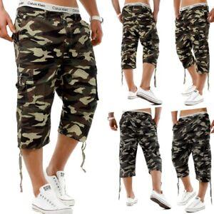 Herren Shorts camouflage Bermuda Cargo Capri Kurze Army Hose Vintage Short De2