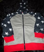 NWT Gymboree Unisex Active Zip Hoodie SZ M(7-8) Gray Red Navy White Stars