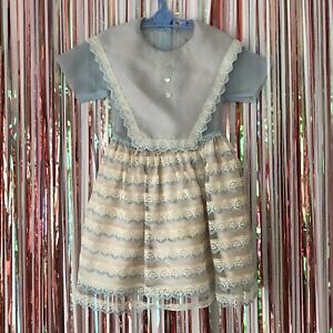 Vintage 1950s Girls Pale Blue Cream Sheer Poofy Frilly Lace Bib Party Dress 5-6