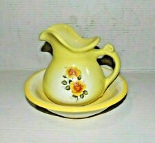 Vtg Yellow Rose Pitcher and Bowl Set
