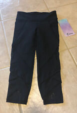 NWT Ivivva (Lululemon Girls) Size 7 Fold On Tight Crop Pant Mesh Black