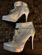 Qupid Heels Shoe Size 7 Womens Silver Rainbow Reflection