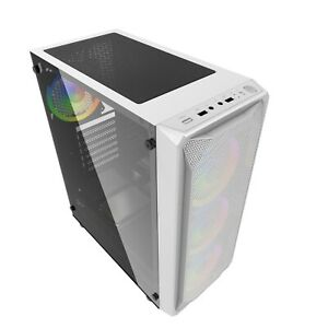 PC GAMING ATX COMPUTER WHITE  MID TOWER CASE TEMPERED GLASS iONZ KZ10W