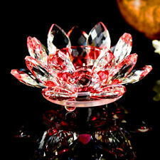 Lotus Tea Light Candle Holder Red Colour Crystal Glass Flower Rotating Base_NEW