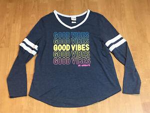 Good Vibes or Goodbye Retro Shirt Juniors Size XXXL Gray Long Sleeve