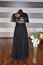 Valentino Vestido de Seda con Blumenbestickungen Gr.42 NP2.990 -negro Nuevo