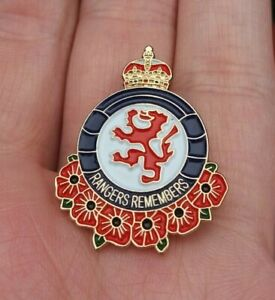 RANGERS REMEMBERS REMEMBRANCE POPPY PIN BADGE VGC