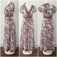 East Anokhi Dress Size 10 Summer Beach Holiday White Pink Floral Long Maxi Midi