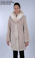 BRAND NEW TAN COLOR SHEARED BEAVER FUR JACKET COAT W/ MONTANA LYNX TRIM SZ ALL