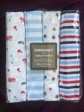 "4 x Baby Nursing Wrap swaddling cotton Receiving Blankets Pack 30 x 30"" boys"