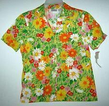 ERIKA Retro Mod Hawaiian Tropical Summer Bright Casual Blouse Top Shirt M NWT