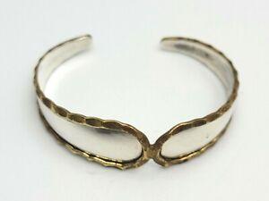 Handmade Sterling Silver Brass Trim Cuff Bracelet Shiny Boho Western Adjustable