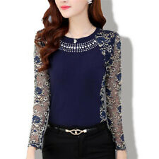 Women Fashion Slim Patchwork Casual Blouses Shirt Long Sleeve Lace Tops Blous Jx XXL