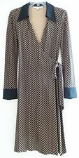 DVF Diane Von Furstenberg Brown Black Chevron Silk Long Sleeve Wrap Dress,$398,4