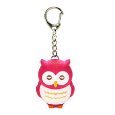 Kawaii Rose Red LED Light Owl Keychain Sound Cartoon Unisex Handbag Decor Gift