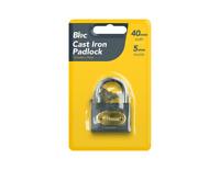 Cast Iron Padlock - 40mm - Heavy Duty Key Lock - New - Great Quality