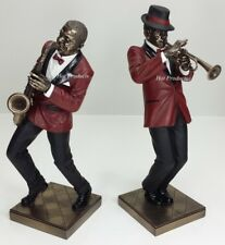 2Pc Set - Jazz Band Collection - Saxophone Trumpet Player Statue Sculpture Decor