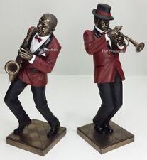 2Pc Set - Jazz Band Collection - Saxophone Trumpet Player Statue Sculpture Decor