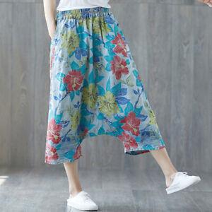 Womens Floral Denim Baggy Capri Pants Drop Crotch Jeans Casual Trousers One Size
