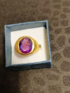 Men Pinkie Ring Size 7.5 14K  Gold Amathyst? Stone 11.1 Grams