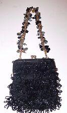 Vintage ADRIENNE VITTADINI Black beaded  Evening Bag Purse  me