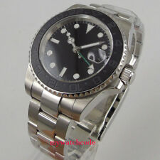 40mm parnis black sterile dial sapphire glass GMT date automatic mens watch 1008