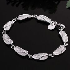 Fashion 925Sterling Solid Silver Jewelry Slippers Link Bracelet For Women H155
