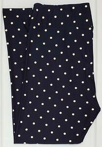 TC LuLaRoe Tall & Curvy Leggings Cute Dark Navy Blue White Polka Dots NWT F83