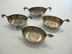 Four Vintage solid Silver Norwegian Salt Boats signed Marius Hammer No Liners