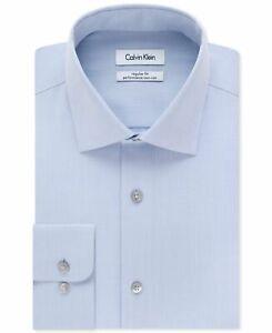 $179 Calvin Klein 17.5 36/37 Men Regular-Fit Blue Long-Sleeve Button Dress Shirt