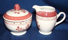 Royal Copenhagen Red Tranquebar 1188 & 1189 Individual Breakfast Sugar & Creamer
