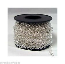 50 Feet 4.2mm x 5.2mm SILVER PLATED CURB Jewelry Chain Soldered Links 50' spool