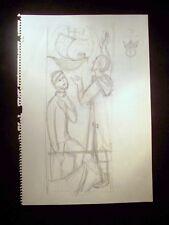 Christian Visionary 1946-59 Original Pencil Doodle by C. Kelm