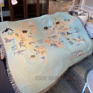 Animal World Map Nap Chair Blanket Tapestry Carpet Mat Home 125*150cm/49*59inch