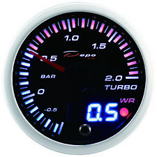 Manometro Strumento 52mm DEPO Pressione Turbo -1+2 BAR Picco - Nero DIGITALE