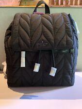 Kate Spade Ellie Large Flap Black Quilted Backpack WKRU5825