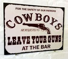 Vaqueros dejan armas en el Bar Retro Vintage signo de Aluminio de Metal Cerveza Pub signos