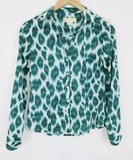 Michael Kors Womens Blouse Size 4P Green Abstract Long Sleeve Button Az-1109
