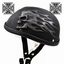 L Unique Black Skull Cap Low Profile Motorcycle Helmet Biker Chopper Novelty