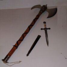 "32.5"" Tribal Medieval Battle Axe & Knights Dagger ,Dragon,Viking, Free Shipping"