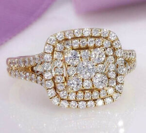 2.11ct Round cut Cluster Halo Diamond Engagement Ring Solid 14K Yellow Gold