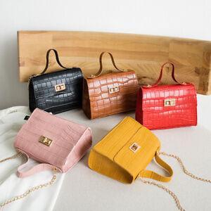 Women Girls Quilted Chain Bag PU Leather Shoulder Crossbody Handbag Messenger ~