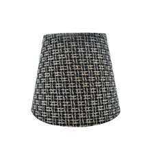 "Black Cream Candelabra Clip On Fabric Lamp Shade - 4"" x 6"" x 5"""
