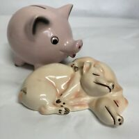Goebel West Germany Vintage Ceramic Pink Lot of 2Laying Pigs + Piggy Bank Locked