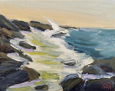 PACIFIC JETTY ONE Original Expression Seascape Ocean Painting 8x10 030519 KEN
