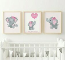 Personalised Elephant Nursery Picture Print Poster Safari Animal Christening