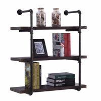 3 Tier Industrial Iron Pipe Wall Shelf Shelving DIY Bookshelf Bracket Storage