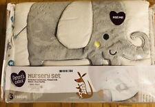 Nip Elephant Nursery Set Comforter,Fitted Crib Sheet,Dust Ruffle Baby