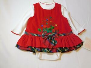 Bonnie Baby Baby Girl's 2 piece Dress/Body Suit Set Size 3-6M 3-6 Months Holiday