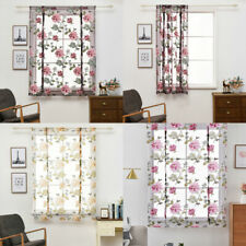 Floral Printed Curtains Voile Curtain Short Sheer Drape Bedroom Balcony Decor